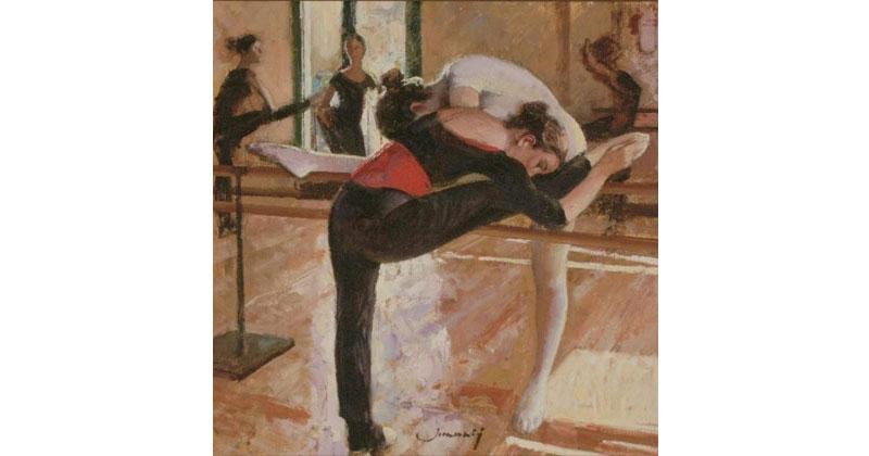 Bailarinas-en-la-barra-roja-y-negra-oleo-60X60cm-JM0010-g