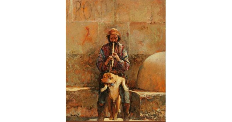 Arabe-con-su-perro-tocando-la-flauta-oleo-55X46cm-JM0002-g