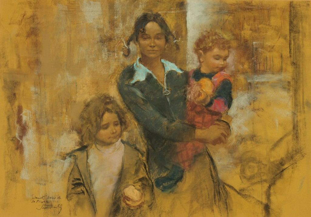 ref.  0049  Tres hermanos gitanos  Pastel  69 X 48  año  1978