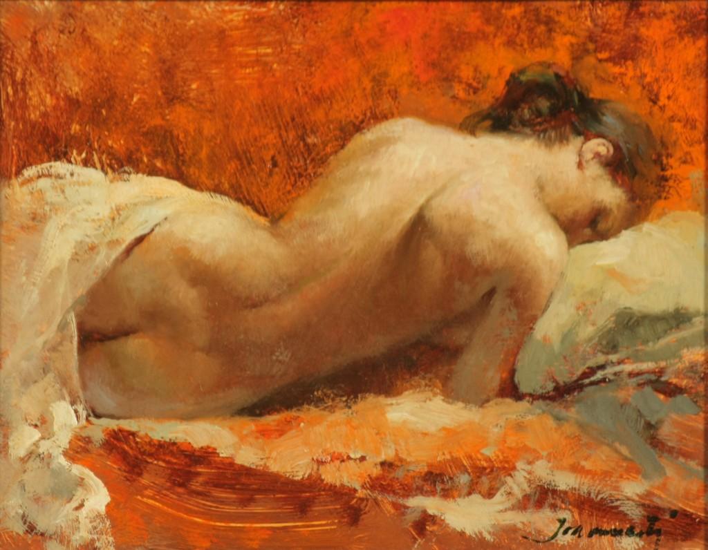 ref.  0084  Encarnita desnudo de espalda  Oleo  16 X 12