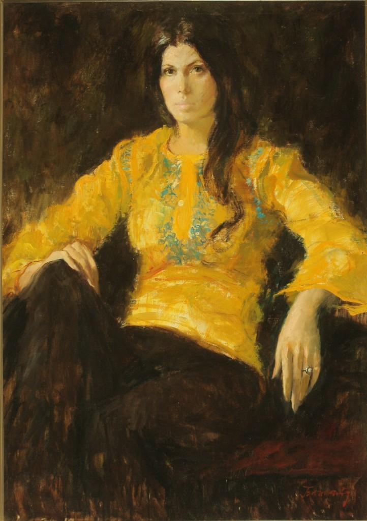 ref. 0004 Retrato Encarnita camisa amarilla. oleo 66 X 90